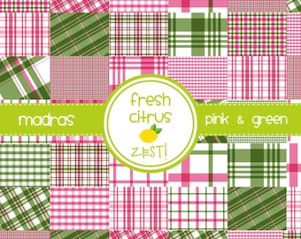Madras Digital Paper Pink and Green Digital Paper Preppy Plaid Paper Single Sheet