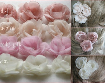 Wedding hair flower Blush hair flower Ivory hair flower Pink hair flower Ivory flower pin Bridal hair flower Cream hair flower Bridal flower