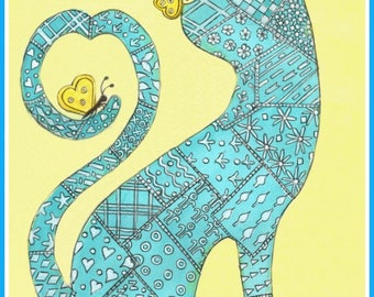 Patchwork Cat, a kitty made of quilting squares, colorful, folkart, primitive, card or print, Pencil with Watercolor, Item #0591a