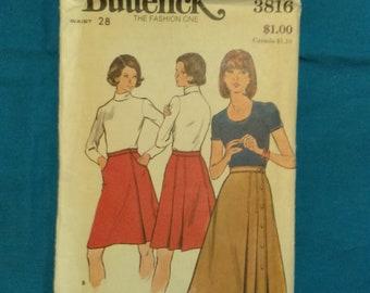 Vintage 1960's 1970's A-line Skirt pattern Waist 28 Butterick UNCUT