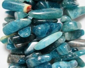 "Genuine Blue Apatite smooth stick beads in 4x12mm-6x22mm - Gemstone Beads - Full Strand 16"""