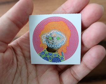 Vintage Retro Original Pop Surreal Round Vinyl Sticker Art Collage Reproduction, Baby Girl Portrait Altered With Colorful Posca Pens