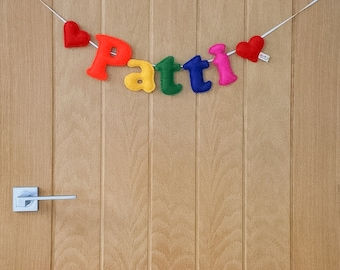 Small felt name garland - name garland - felt letters - personalised garland - child's decor - signage - rainbow garland - MADE TO ORDER