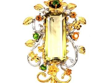 Huge Citrine Sapphire Chrome Diopside Sterling Silver 14kt Gold Pendant -