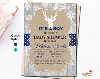 Deer Baby Shower Invitation Boy, Little Buck Baby Shower, Rustic, Oh Deer Baby Shower Invitation, Hunting Baby Shower, Digital Printable C56