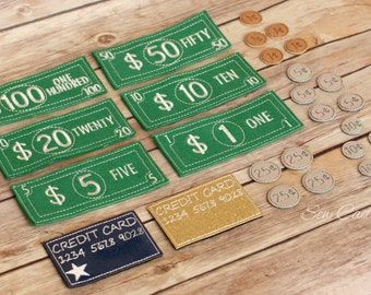 Learning Play Money Set ~ US Dollar Bills, Coins & Credit Cards~ American Pretend Money ~ Imagination Play ~ Homeschool Quiet Play Money