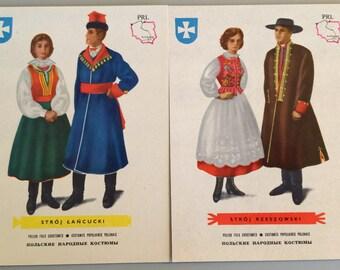 Vintage Postcards Polish Folk Costumes  Set of 2 Different Postcards 1960's  Unused Stroje Ludowe Polish Postcards
