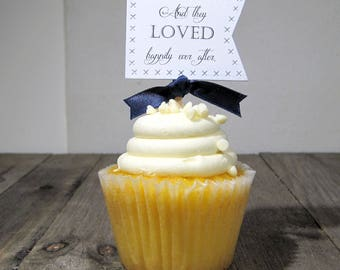 And they loved happily ever after Cupcake Toppers - Set of 12 - Dessert Toppers - Wedding - Bridal shower - Announcement Party