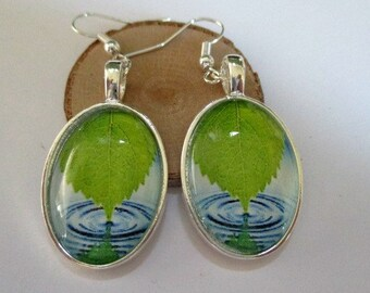 Leaf and Water Oval Glass Earrings