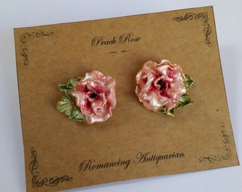 Peach Rose Silver Earring Studs with leaves, Handcrafted Floral Jewelry