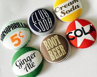 Retro Soda Pop Bottle Top Style  Button Fridge Magnets set of 6 in gift tin