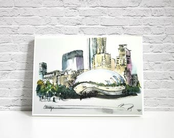 PRINT of Chicago Cloud gate aka The Bean from my original sketch.