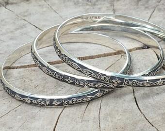 Bangle Bracelet- Solid Sterling Silver Bangle Bracelet- Handmade Bangles-Stacking Bracelet-  --Small size .
