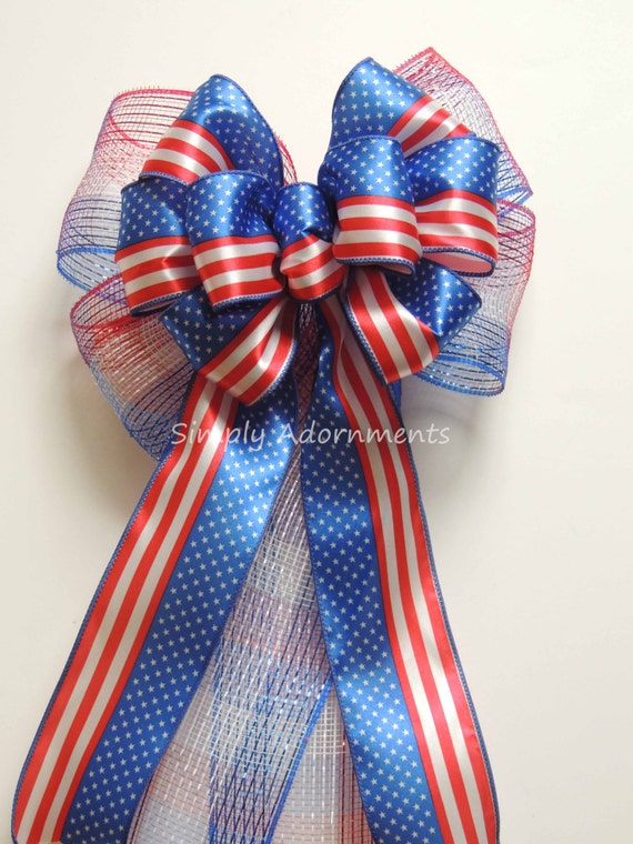 July 4th wreath Bow 4th of July Party decor Patriotic door hanger bow Red white blue Patriotic Wreath Bow Independence Day Party Decoration