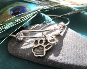 Silver Plated Bracelet Presenting  A Sterling Silver Paw Print and Small Open Heart Charms - You Are Loved With An Open Heart