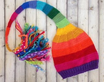 Kid Adult RAiNBoW Stocking Cap KNiT Boy Girl Men Women Hat LoNG TAiL Tassel Stocking Hat STRiPE Winter Toque RAiNBoW Pride Gift LGBTQ Hat