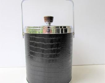 Mid Century Barware - Kromex Faux Crocodile Ice Bucket - Black Faux Crocodile - Chrome - Wood Accents - Mid Century Mod -