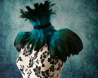 Teal and black ice queen feather set