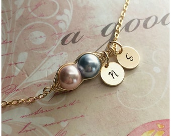 Personalized Pea in a Pod Necklace with Initial - Gold Pea Pod Necklace with Children Initials - Gold necklace 2 Children Two Peas in a Pod