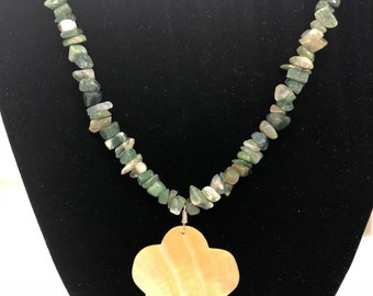 A31 Aventurine with pearl mother pendant .