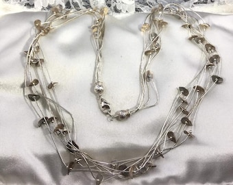 "Sterling Sterling 7 Strand Liquid Sterling 22"" Necklace"
