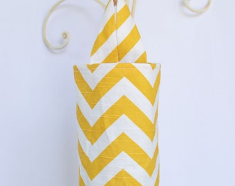 Fabric Plastic Grocery Bag Holder Dispenser Yellow Chevron Zig Zag