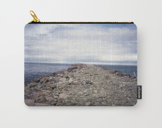 Beach Carry All Pouch - Rockaway Beach Oregon - Make-up Bag- Pouch- Toiletry Bag - Change Purse - Organizing Bag - Made to Order