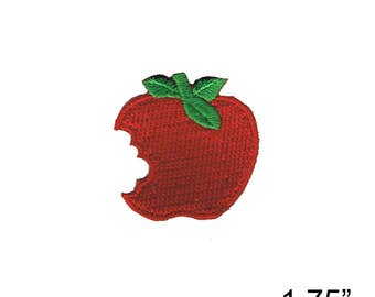 """Apple Bite Iron On Patch by Fuzzy Dude 1.75"""" Free Shipping 2343"""