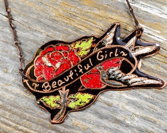 """Sailor Jerry Bird and Rose Necklace """"Beautiful Girl"""" Hand Engraved and Enameled Classic Tattoo Flash Inspired Necklace: Inkd29"""