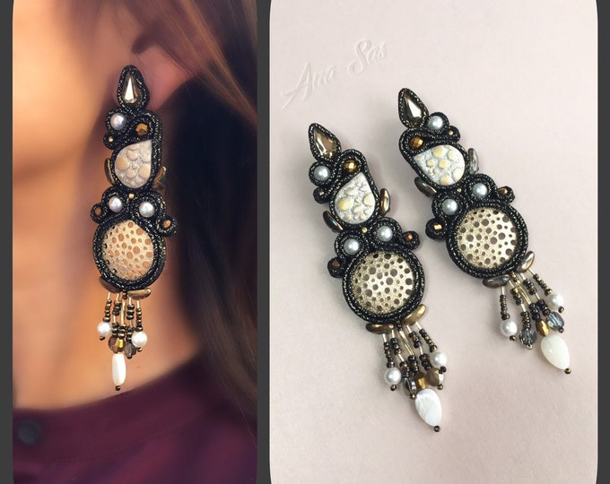 Black and gold soutache earrings, Swarovski pearls, Swarovski crystals and mother of pearl details