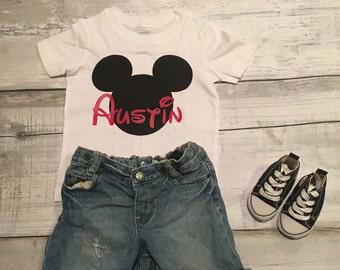 Mickey Mouse Customized Shirt  Boy   Red   Black   Youth Shirt   Toddler Shirt   Trendy   Shirt   Toddler   Mickey   Disney  
