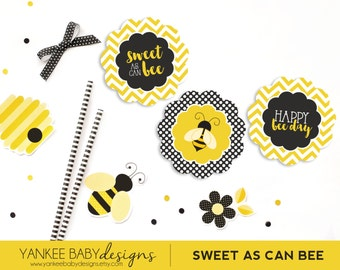 PRINTABLE Sweet As Can BEE - Cupcake Toppers - Yellow Chevron, Black and White Polka Dots