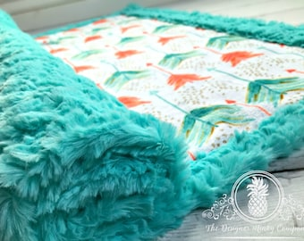 Arrow Baby Blanket - Coral and Teal Watercolor - Designer Minky - Teal