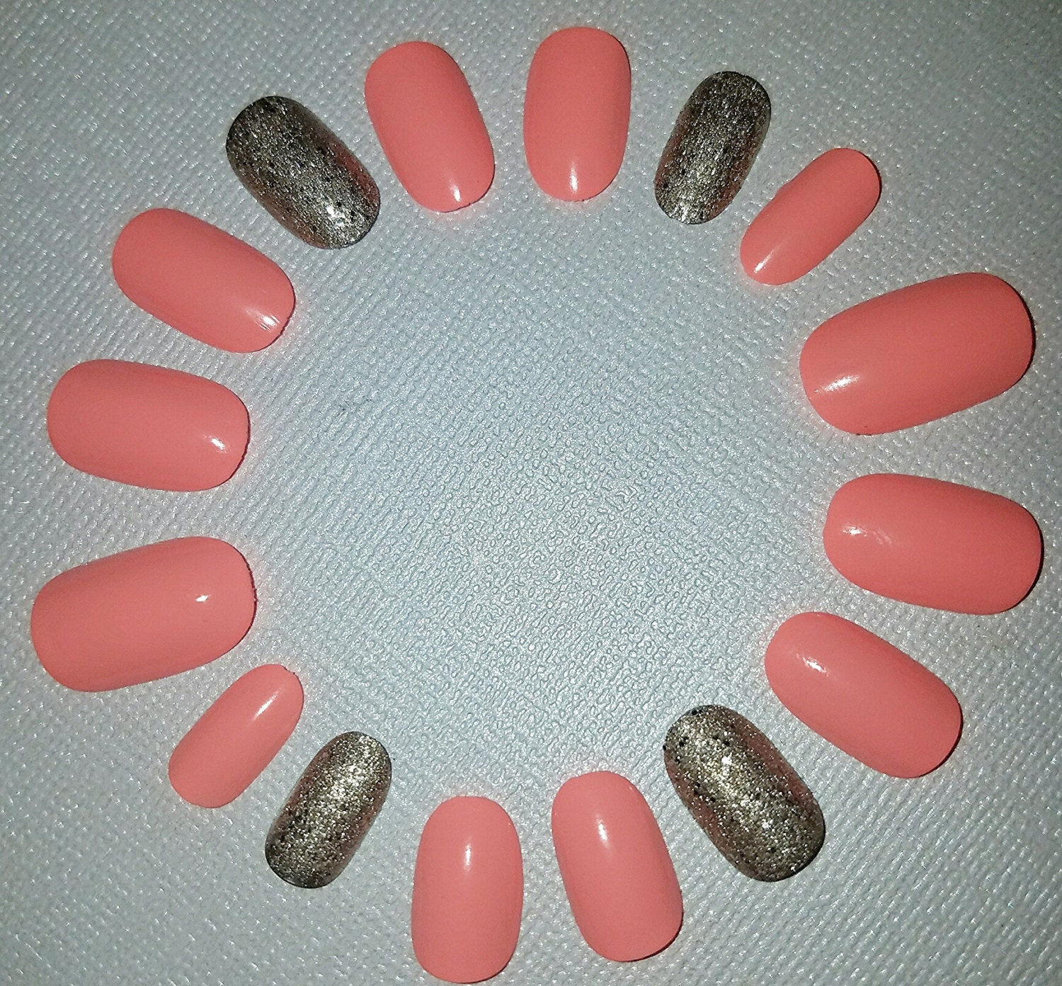 Extra Short Coral Fake Nail Set- Fake Nails- False Nails- Press on ...