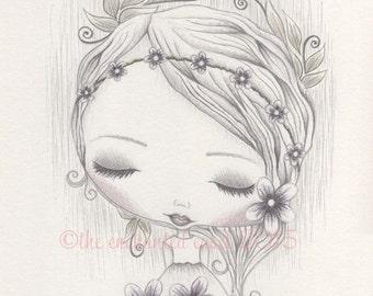 Flower Girl Drawing, Girls Room, Whimsical, Flowers, Girls Wall Art, Graphite, Summer, Spring, Seasonal, Blossoms, Nursery Art