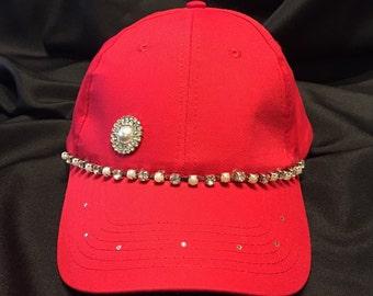 Bling Sparkle Embellished Red Hat