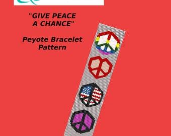 GIVE PEACE A CHANCE Peyote Bracelet Pattern