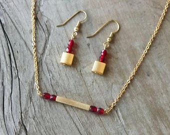 beaded bar necklace , minimalist necklace, red and gold necklace, necklace and earrings set, red beads necklace, dainty necklace, gift
