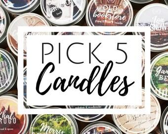 Pick 5 4oz Candles | Bookish Gift | Bookish Candle Bundle