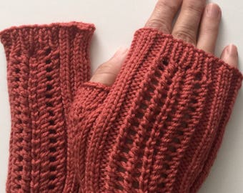 Hand knit orange merino wool fingerless mitts, merino texting mitts,  hand knit gift, ready to ship.