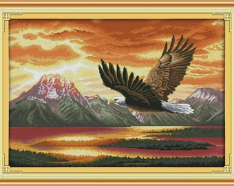 Free shipping The flying eagle Counted Cross Stitch 11CT Printed 14CT  DIY Chinese Cotton Cross-stitch Kit Embroidery Needlework D427
