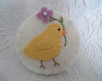 Felt Brooch Bird Chick Pin Primitive Flower Purple