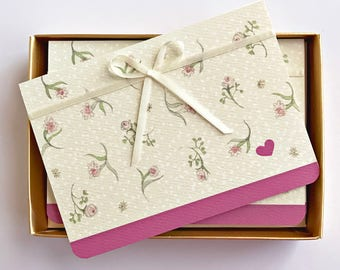 Wedding Thank You Cards - Pink Flowers - Bridal shower thank you - Wedding Notes - Stationery Set of 12 Cards - Pink Cards
