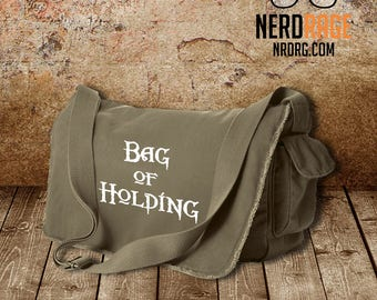 Bag of Holding Canvas Messenger Bag - Cotton Canvas Bag - Dungeons and Dragons Inspired Bag - Custom Bags Available