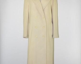 90s cream wool maxi coat / 1990s oversize long coat / minimalist wool coat