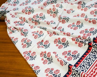 Black Red Floral Print Fabric