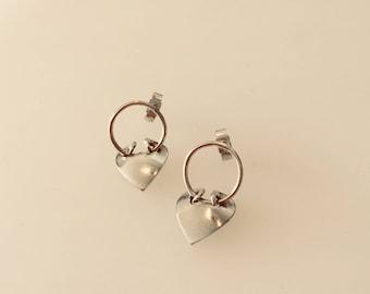 Silver Heart Earrings, Valentine Gift
