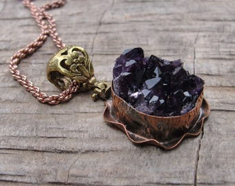 Druzy Amethyst Necklace Hand formed Copper and Bronze Statement jewelry