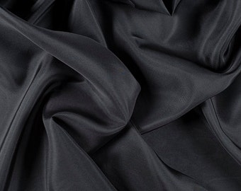 "45"" Wide 100% Silk Crepe de Chine Dark Gray by the yard (1200M193)"