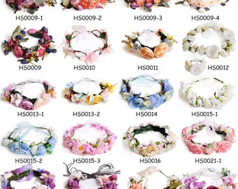 DIY Boho Flower Crown Garland Wreath Floral Headband Headpiece Wedding Bridal Beach Artificial Flowers Craft Supply, V-HSSET01